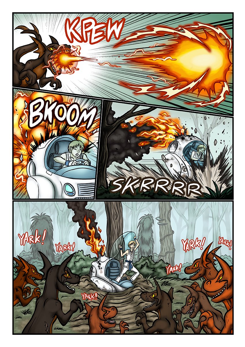 For this page I prettymuch needed to learn how to draw fire on the spot. This comic has been forcing me to try a lot of new things.